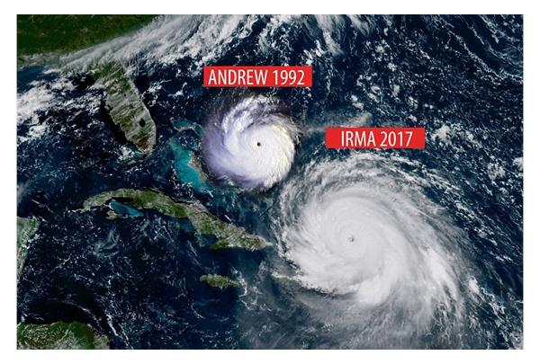 Hurricane Andrew (1992) vs. Hurricane Irma (2017)