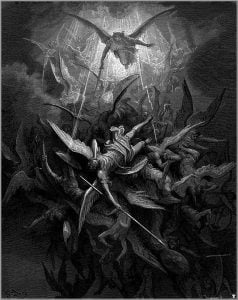 "Gustav Dore's Illustration of the fallen angel's cast out of heaven for ""Paradise Lost"""