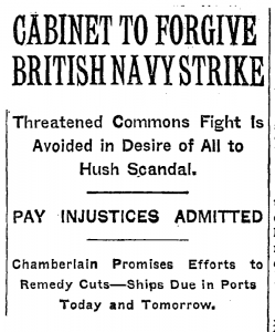 Cabinet to Forgive British Navy Strike